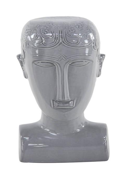 Monroe Lane Eclectic Gray Stoneware Man Head Sculpture