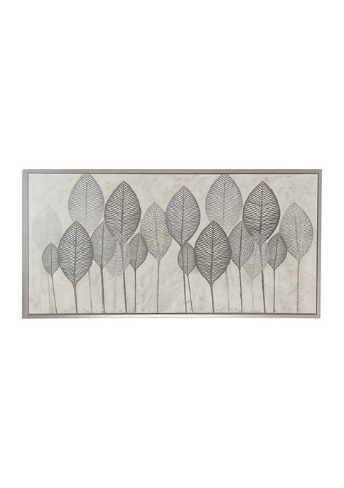 55 in x 27 in Large Gray and White Leaf Framed Canvas Art