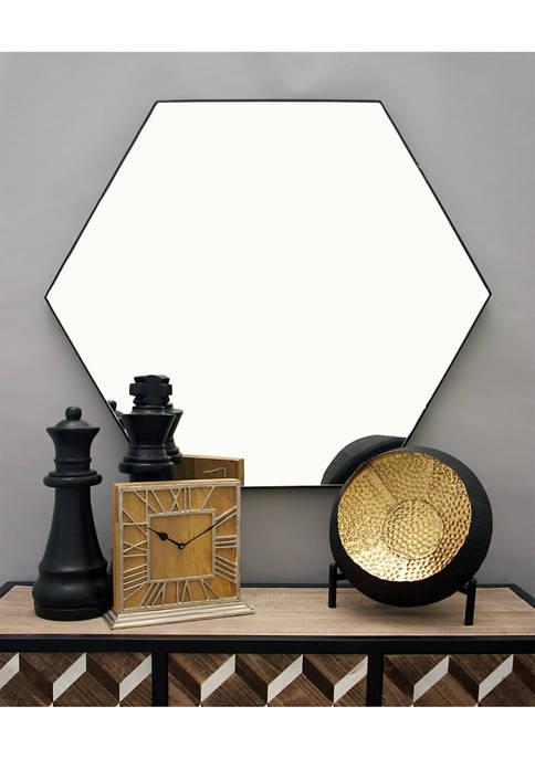 Monroe Lane Glam Hexagonal Wooden Framed Wall Mirror