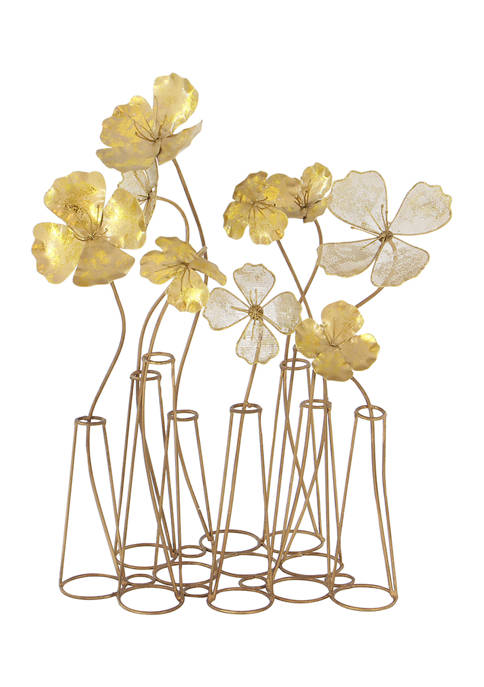 Monroe Lane Gold Iron Flowers Table Décor