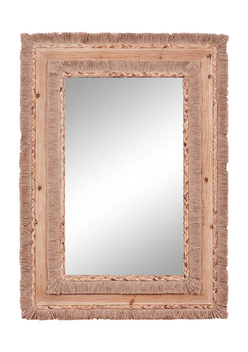 Large Rectangular Wood and Wicker Beige Wall Mirror