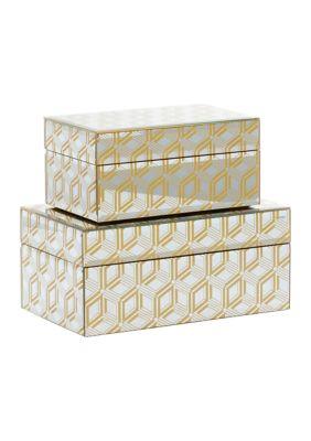 Monroe Lane Gold Wood Glam Box - Set Of 2