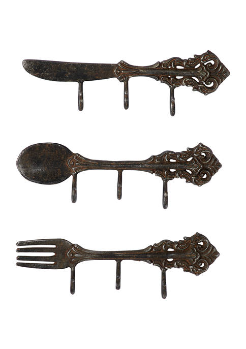Set of 3 16 in x 15 in Small Antique Metal Wall Hooks with Kitchen Utensil Design