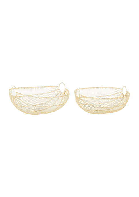 Monroe Lane Gold Metal Contemporary Decorative Bowls