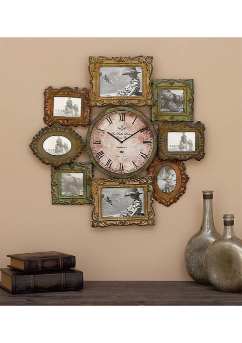 Traditional Iron Wall Clock With Assorted Photo Frames