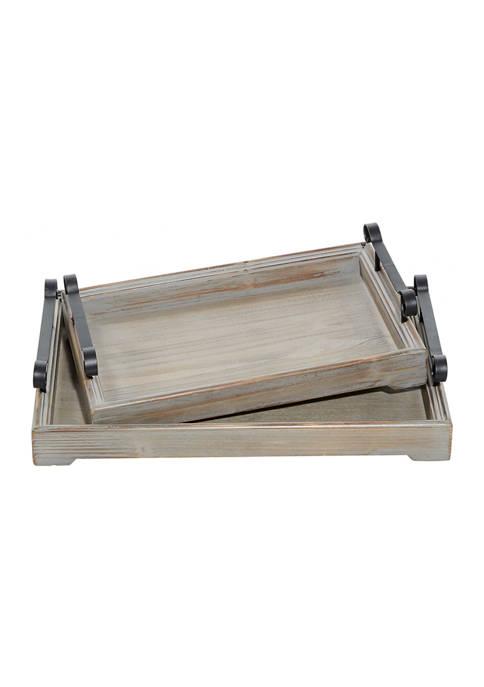 Monroe Lane Beige Wood Vintage Tray