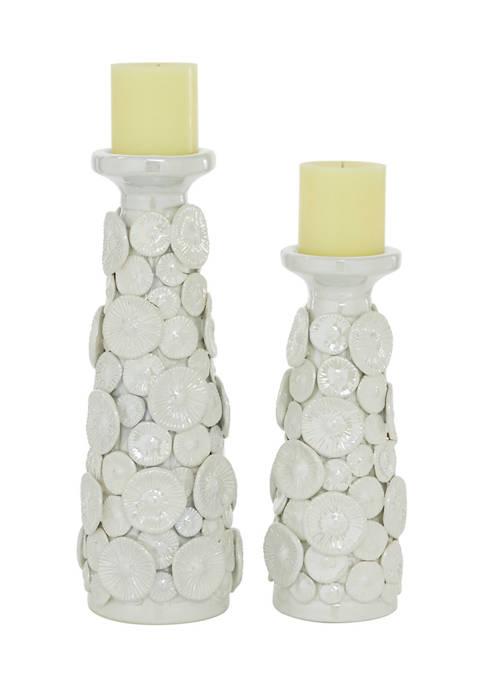 Monroe Lane Ceramic Farmhouse Candle Holder Set of