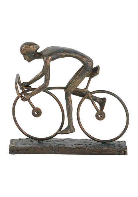 Monroe Lane Contemporary Polystone Stylized Cyclist Sculpture