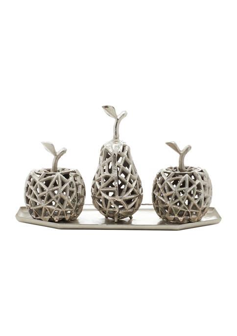 Monroe Lane Aluminum Contemporary Decorative Fruit with Tray