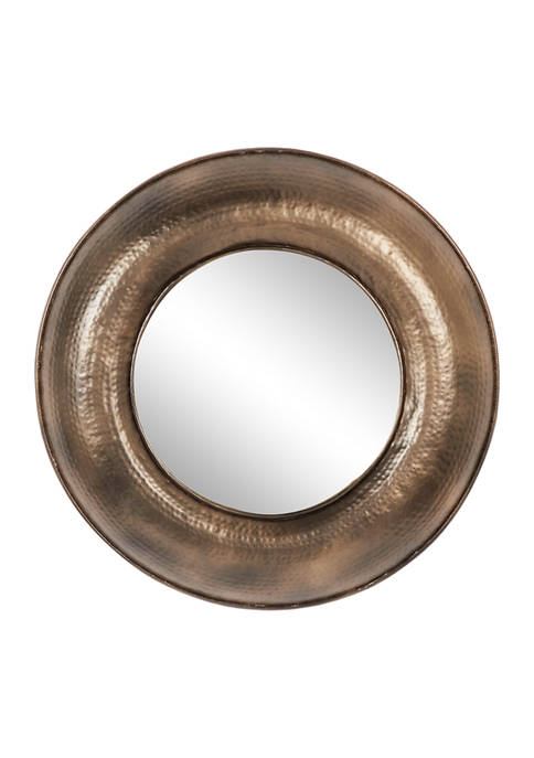 32 Inch Round Metal Bronze Finished Wall Mirror