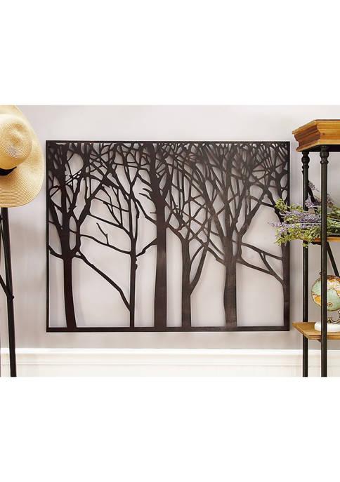 Monroe Lane Farmhouse Forest Tree Silhouette Iron Wall