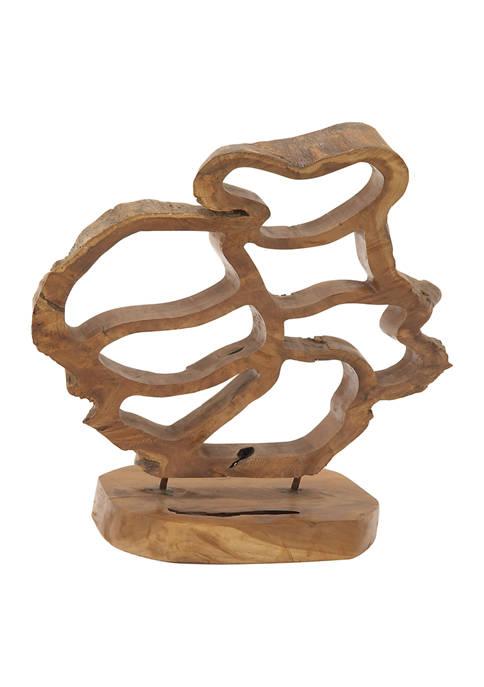 Monroe Lane Natural Teak Wood Abstract Sculpture