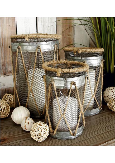 Monroe Lane Farmhouse Cylinder Mesh Metal Candle Holders