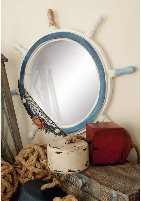Monroe Lane Coastal Ship Wheel Wall Mirror
