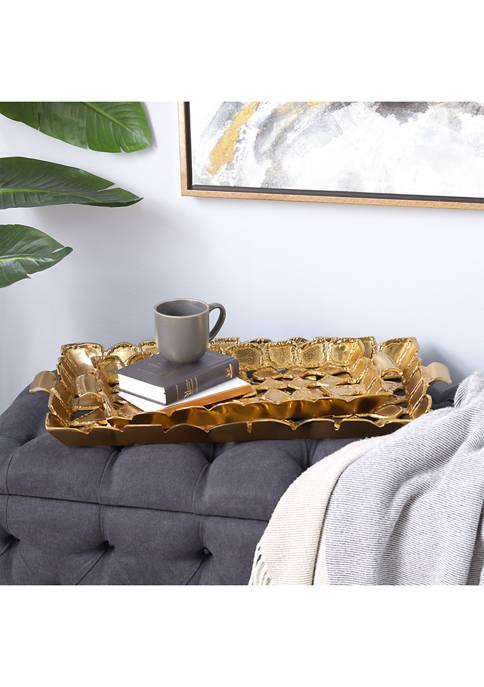 Monroe Lane Gold Aluminum Contemporary Tray