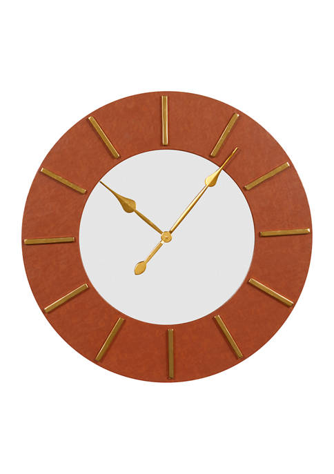 Monroe Lane Large Round Wood Wall Clock with