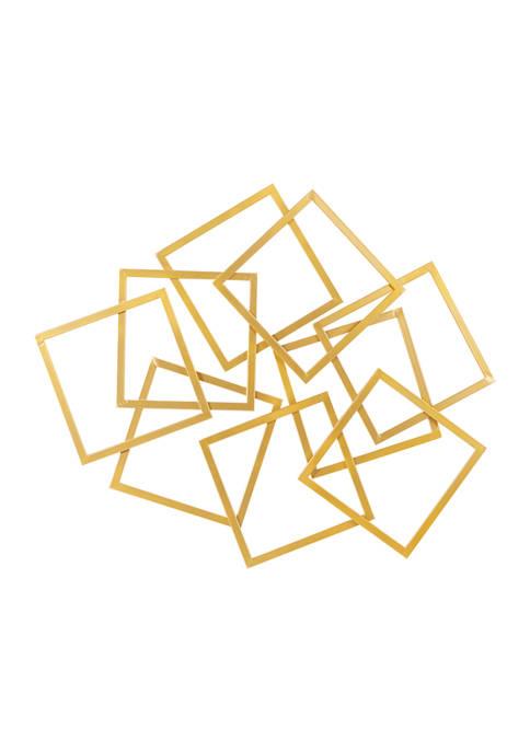 Monroe Lane Large Abstract Layered Square Gold Metal