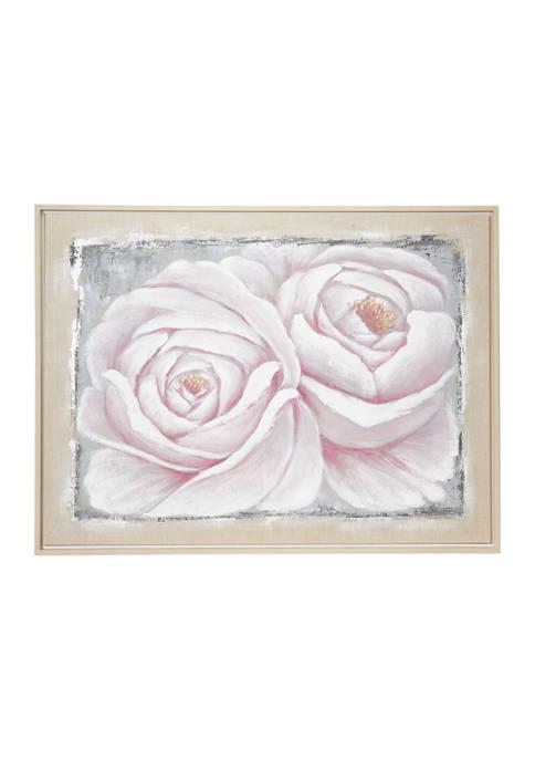 Monroe Lane Large White and Pink Roses Acrylic
