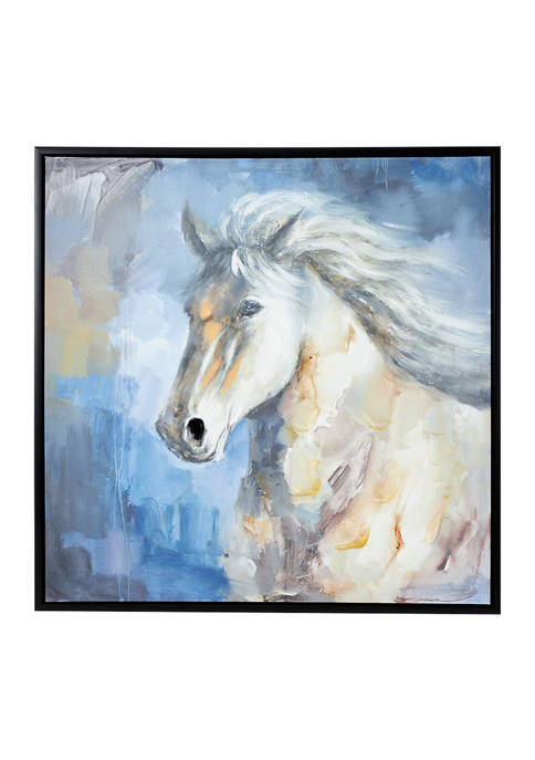 39.5 Inch Large Square Blue, Gray and White Horse Painting in Black Frame