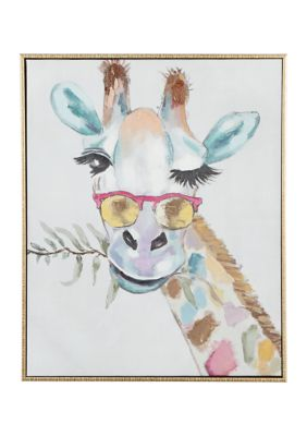 Monroe Lane Rectangular Multi Colored Whimsical Giraffe Canvas Wall Art With Gold Wood Frame, 17 In X 21 In