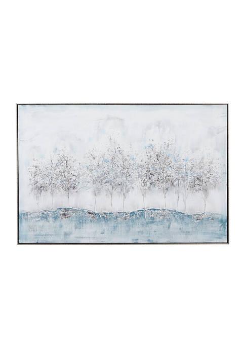 Monroe Lane Rectangular Silver And Blue Nature Canvas