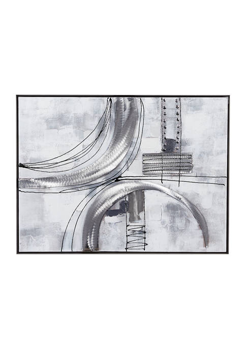 Rectangular Silver Textured Abstract Canvas Wall Art With Silver Metal Frame, 30 in x 40 in