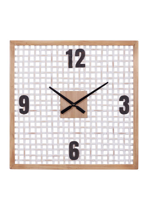 23.5 Inch Natural and White Square Wood Wall Clock