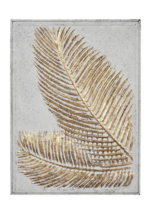 Monroe Lane Rectangular Gold And White Palm Leaf