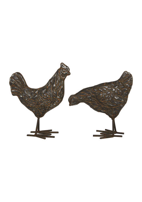 Set of 2 Metal Farmhouse Rooster Sculptures