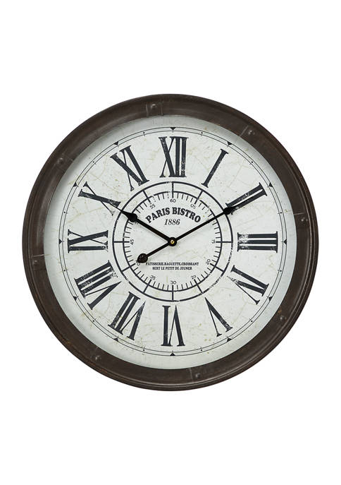 Large, Round Industrial Black Metal Wall Clock with Roman Numerals and Paris Bistro Script