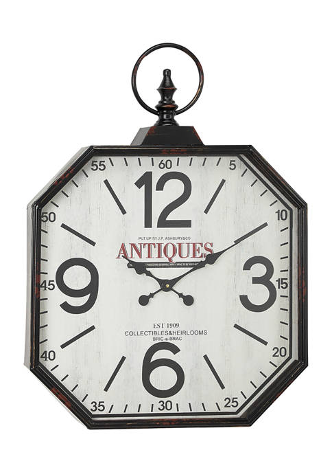 Monroe Lane Oversized Octagon Shaped Antique Black Wall Clock With Large Finial Detail Belk