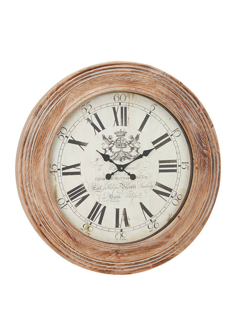 Oversized Round Black & White Wood Wall Clock with Roman Numerals & Decorative Crest, 30.5 Inch