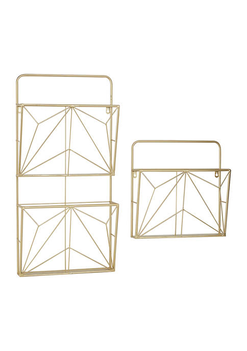 Set of 2 15 Inch and 30 Inch Geometric Gold Metal Wall Mail Organizer