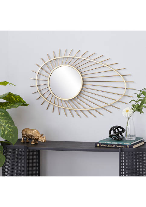 Gold Metal Contemporary Wall Mirror