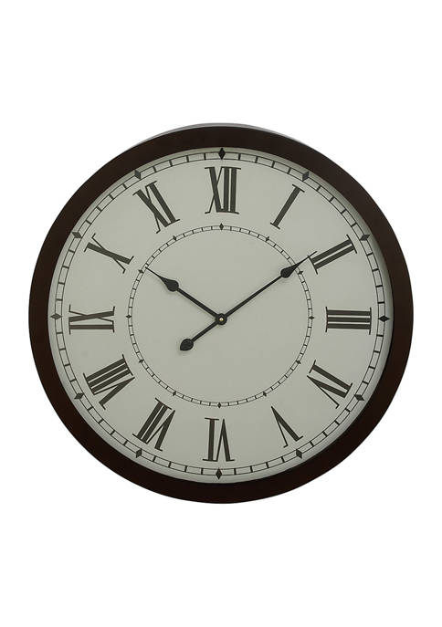Monroe Lane Traditional Style Round Metal Wall Clock,