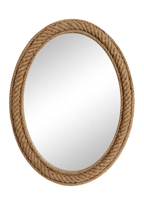 Monroe Lane Oval Natural Rope Trimmed Wood Wall