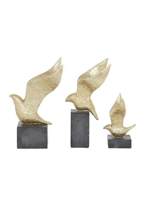 Monroe Lane Gold Polystone Birds Sculpture