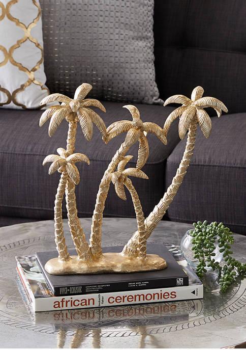 Monroe Lane Gold Polyresin Coastal Palm Tree Sculpture