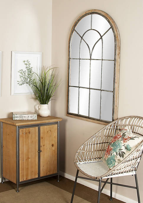 Rustic Oversized Arched Window Wall Mirror with Wood Frame