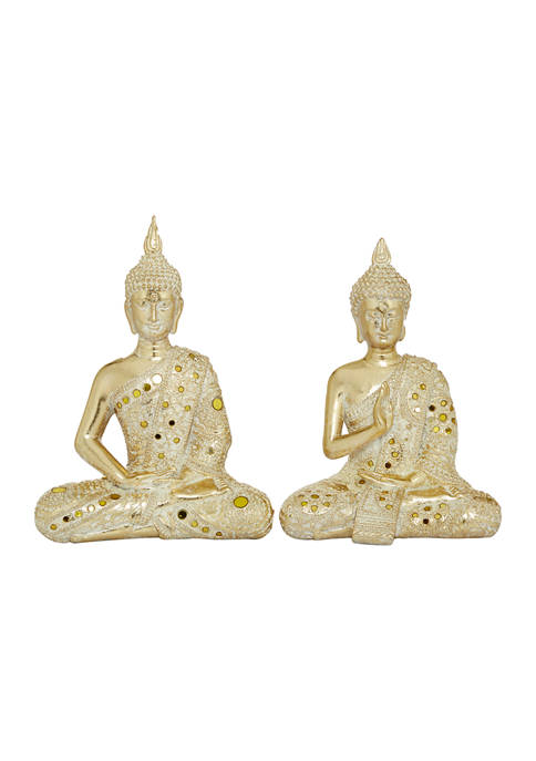 Monroe Lane Set of 2 Polystone Glam Buddha