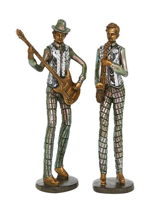 Monroe Lane Set of 2 Polystone Vintage Musician