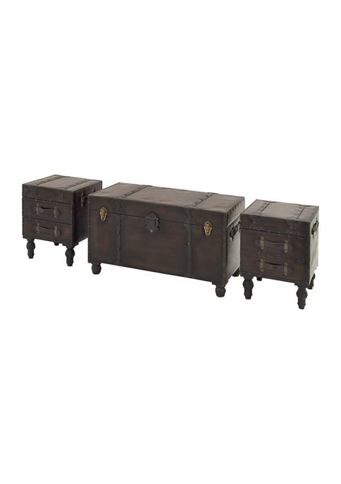 Monroe Lane Traditional Leather Trunk