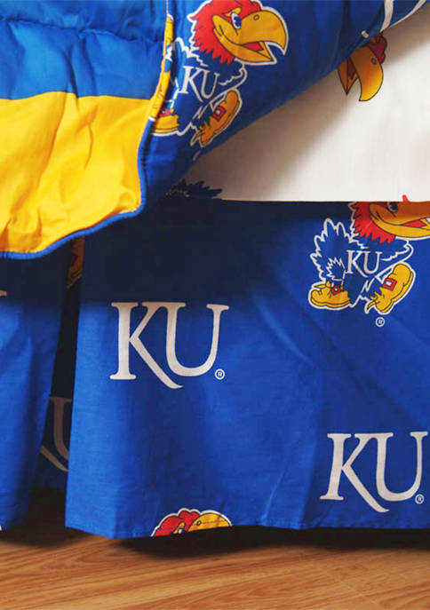College Covers NCAA Kansas Jayhawks Printed Dust Ruffle