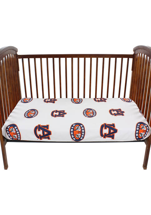 NCAA Auburn Tigers Baby Crib Fitted Sheet White
