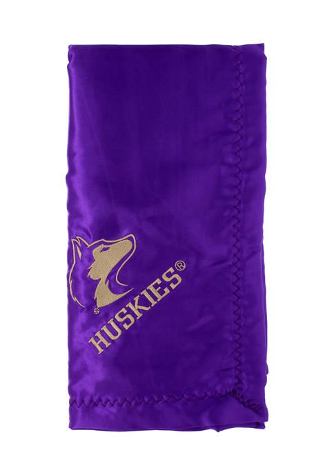 NCAA Washington Huskies 28 in x 28 in Silky and Super Soft Plush Baby Blanket