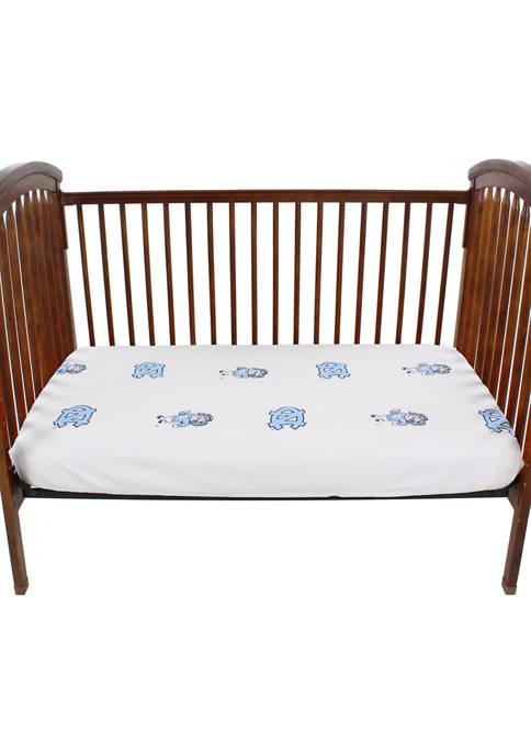 NCAA North Carolina Tar Heels White Baby Crib Fitted Sheet