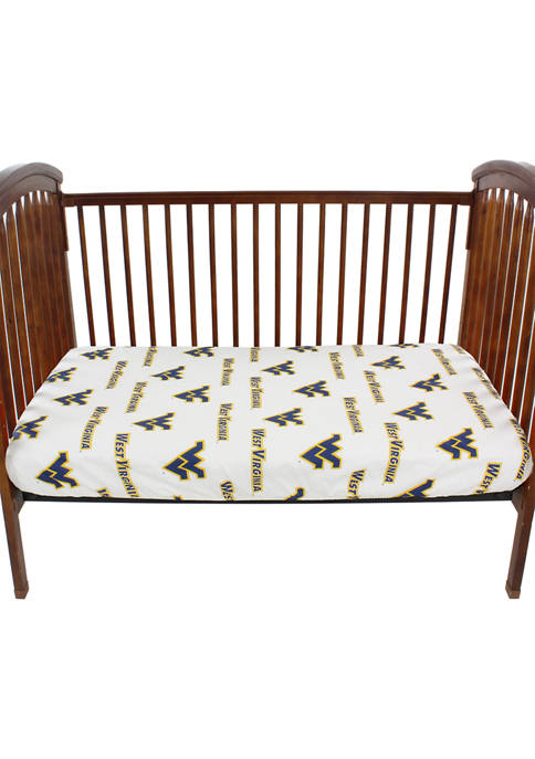 NCAA West Virginia Mountaineers White Baby Crib Fitted Sheet