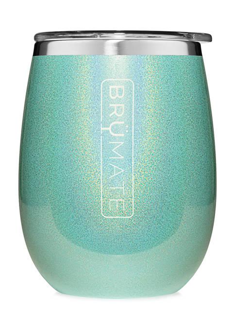 Uncorkd XL   14 Ounce Wine Tumbler   Glitter Aqua