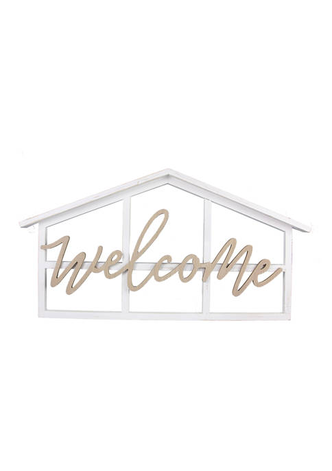 Wood House Shaped Cutout Welcome Sign