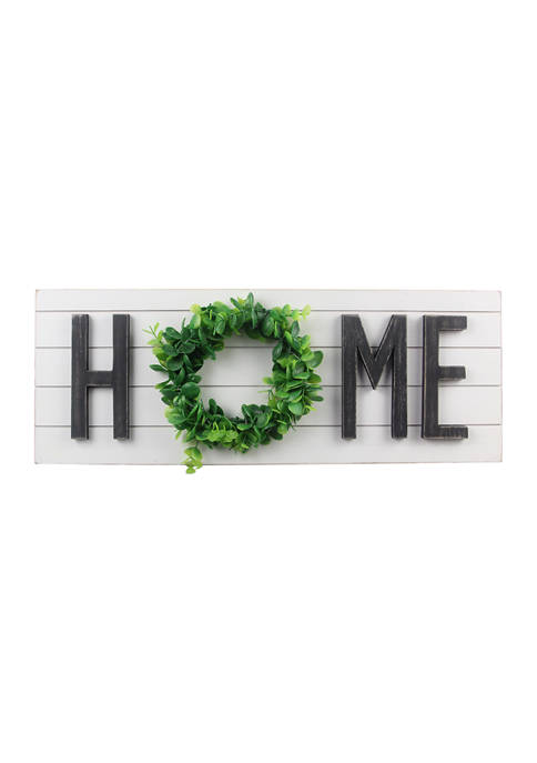 Wood Shiplap Home Wall Sign with Wreath